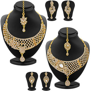 Sukkhi Excellent Gold Plated AD Set of 2 Necklace Set Combo For Women