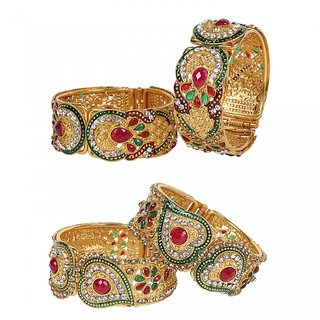 Penny Jewels Alloy Gold Plated Wedding Latest Golden Bangles Set For Women  Girls (Pack of 4)