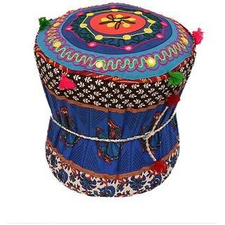 Rangrohi Fabric Standard Ottoman  (Finish Color - multicolor)