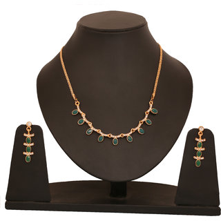 Touchstone Non Plated Gold Alloy Necklace Set For Women