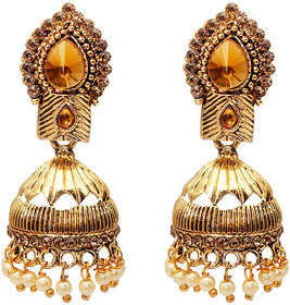 Kriaa by JewelMaze Brown Austrian Stone Gold Plated Jhumki-AAA1744