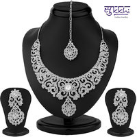 Sukkhi SilverWhite Others Silver Plated Necklace Set For Women