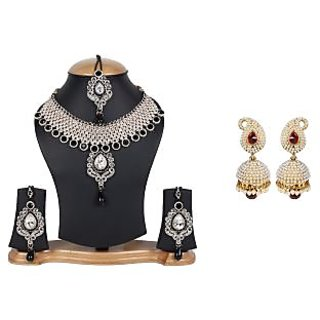 Jewels Gold Ethnic Simple Party Wear  Wedding Contemporary Handmade Necklace Set With Jhumki Set For Women  Girls