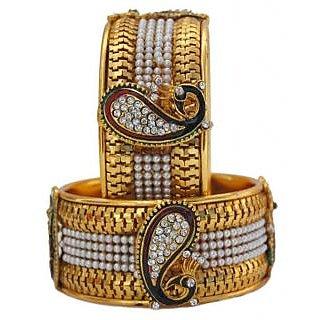 Jewels Gold Alloy Party Wear  Wedding Latest Stylish Fancy Kada Set For Women  Girls (Pack Of 2)