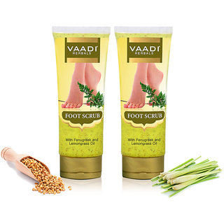 Vaadi Herbals - Foot Scrub with Fenugreek Lemongrass Oil (110 gms x 2)