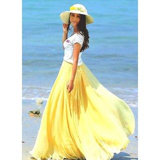 Raabta Fashion Yellow Long Skirt