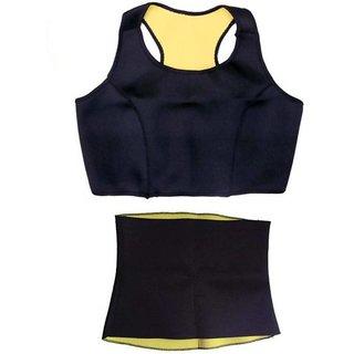 Original Hot Shapers set Sports Slimming Bodysuit Shaper Belt + Stretch Sports Bra for Women