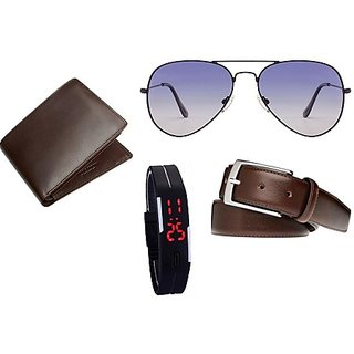Unique Collections Multicolor Combo Of Brown Belt + Brown Wallet + Led Watch + Glases For Men (Synthetic leather/Rexine)