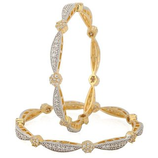 Jewels Gold Alloy Party Wear  Wedding Traditional Stone Latest Bangles Set For Women  Girls (Pack Of 2)