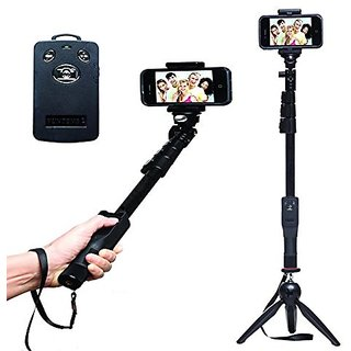 Extendable Handheld Yunteng Selfie Stick Monopod + Mini Tripod With Bluetooth Remote Shutter.