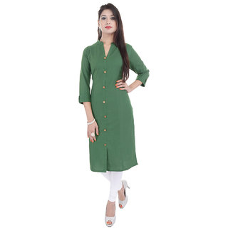 PMM Creation Green Plain Cotton Straight Kurti