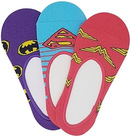 Justice League Women's No Show Socks with Anti Slip Silicon - Pack of 3