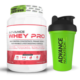 Advance Nutratech Whey Pro Protein Powder combo of 1kg (2.2LBS) chocolate + free Shaker
