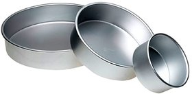 Aluminium Round Cake Mould - Fixed Bottom - Size 6 7 8 Inches for Baking approx 0.5 kg 0.75 kg and 1 kg cake