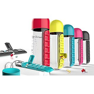 Water Bottle with Pill organizer