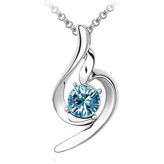 OM Jewells 18k Alloy Blue Silver Rhodium Plated Crystal Party Wear Comtemporary Pendant With Chain For Women