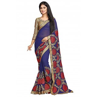Bhavna creation Navy Georgette Embroidered Saree With Blouse
