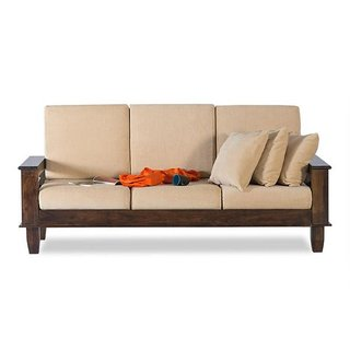 BM Wood furniture 3 Seater Folding Sofa Set ( Natural)