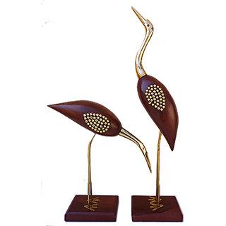 Beautiful Wooden Swan Pair Love Birds