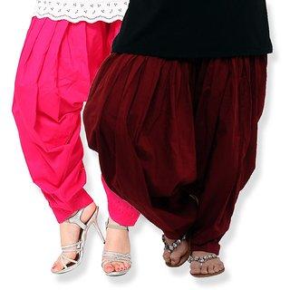 KriSo Pink  Maroon Cotton Plain Patiala Salwar