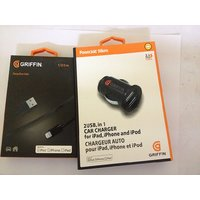 COMBO GRIFFIN DUAL PORT CAR CHARGER+GRIFFIN USB CABLE FOR IPHONE 5 5S IPAD 4,COD - 4774048