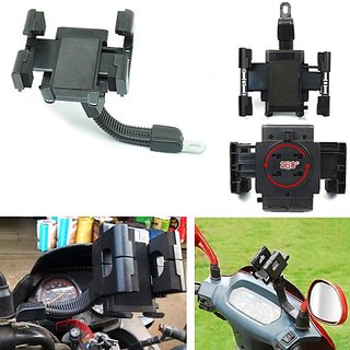Bike Mobile Mirror Mount Holder Stand Samsung Nokia Micromax LG Apple Phone etc.