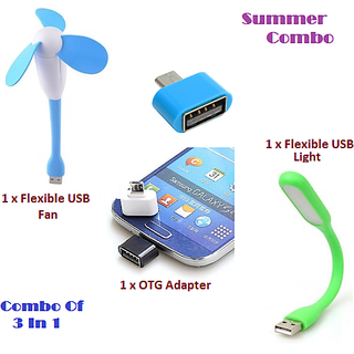 Combo 3 in 1 Portable Flexible design USB Fan, USB LED Light And OTG Adapter (Assorted Colors)