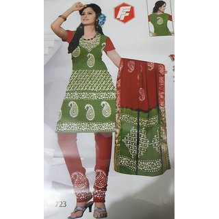 Women's Cotton Printed Unstitched Regular Wear Salwar Suit