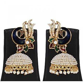 Jewels Gold Ethnic Simple Designer Wedding Peacock Jhumki Set For Women  Girls