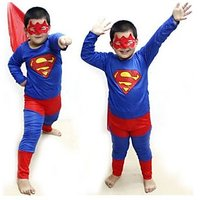 Superman Costume Fancy Dress Up Outfit Suit Mask Children (Small Sizes)