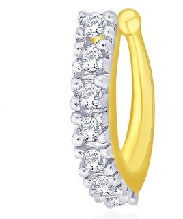 Mahi Gold Plated Classic Nose Pin with CZ for Women NR1100153G