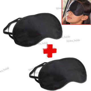 Kudos 2pc Soft Travel Sleeping Eye Mask Aid Cover Black Shade Blindfold Eye Patch-01