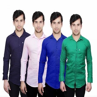 Knight Riders Pack Of 4 Casual Slimfit Poly-Cotton Shirts NavyLight PinkDark Blue Green