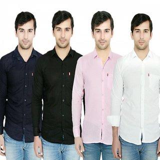 Knight Riders Pack Of 4 Casual Slimfit Poly-Cotton Shirts BlackNavyLight PinkWhite