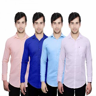 Knight Riders Pack Of 4 Casual Slimfit Poly-Cotton Shirts PeachBlueSky BlueWhite