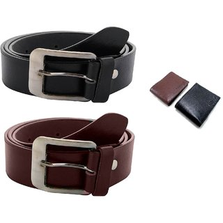 Hdecorative Combo Of Brown Leatherite Belt For Men and Brown Wallet