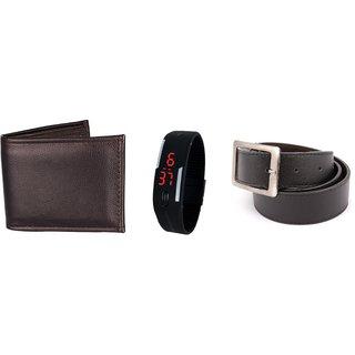 Classic - Black wallet, belt  Led Band Watch combo
