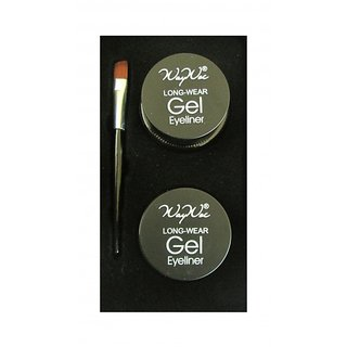 Professional Gel Eye Liner Set of 2 with Brush - Long Wear Gel Eye Liner for Professional Makeup