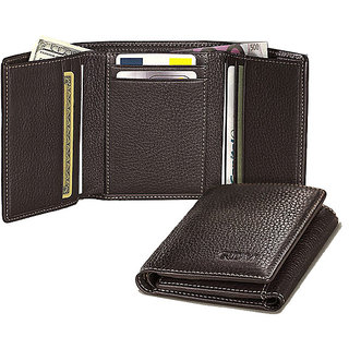 Black  Brown Formal Leatherite Tri-fold Wallets
