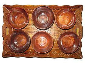 Carved Tray with 6 bowls