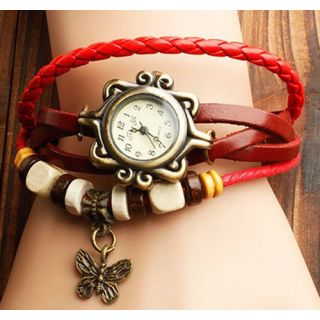 Women Bracelet Watch Leather Women's Wrist Watch Ladies Watch Butterfly Red