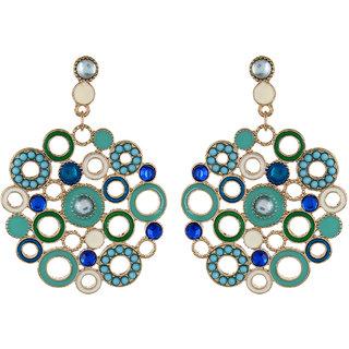 Fayon Chic Stylish Turquoise Bubble Enamel Circle Chandelier Earrings