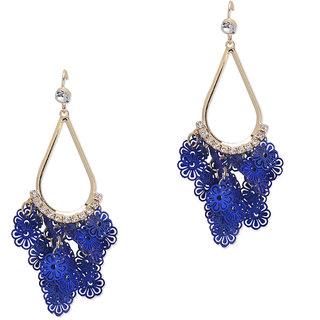 Fayon Funky Fashion Blue Flower Clusters Hoop Earrings