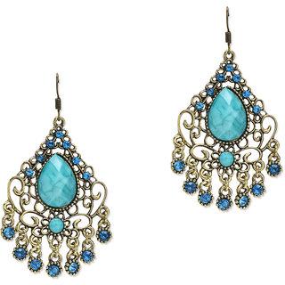 Fayon Fabulous Statement Antique Turquoise Gemstone Chandelier Earrings
