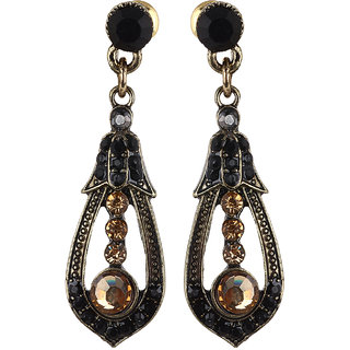Fayon Trendy Costume Black and Golden Crystals Drop Earrings