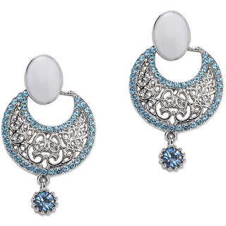 Fayon Weekend Party Blue & White Rhinestone With Pearl  Chandelier Earrings