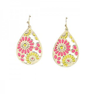 Fayon Fashion Statement Graceful White And Black Flower Drop Earrings