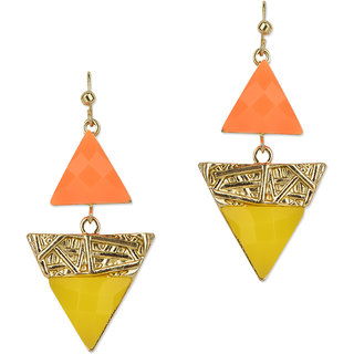 Fayon Party style Diva Graceful Orange And Yellow Triangle Gemstone Drop Earrings