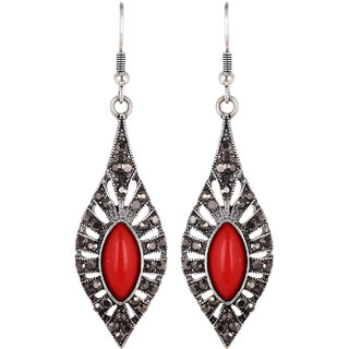 Fayon Weekend Party Red Gemstone Vintage Style Drop  Earrings