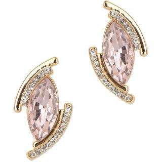 Fayon Designer Modern Pink Rhinestone Crystals Stud Earrings